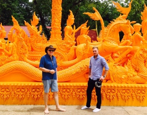 Ben and Papa admiring one of the many temple adornments around Ubon.
